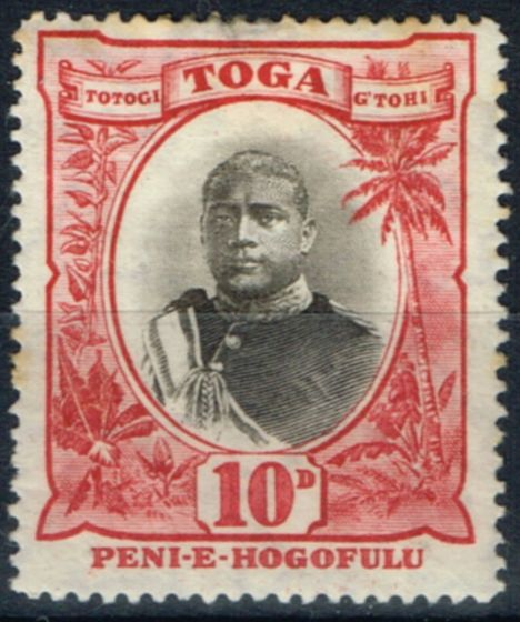 Valuable Postage Stamp from Toga 1897 10d Black & Lake SG49 Wmk Inverted Ave Mtd Mint Unlisted