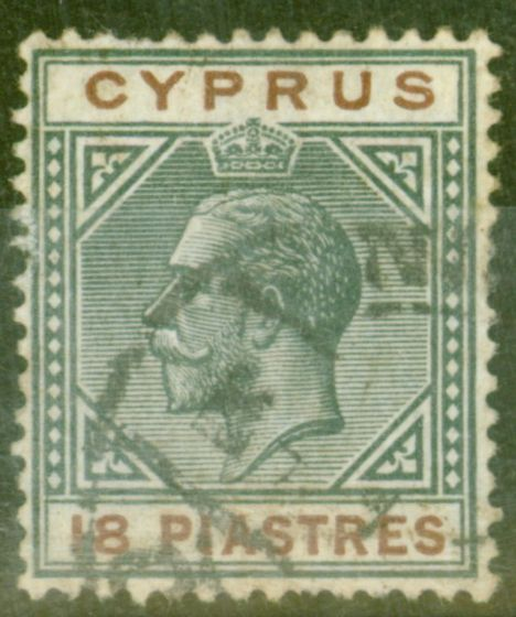 Old Postage Stamp from Cyprus 1914 18pi Black & Brown SG83 Fine Used