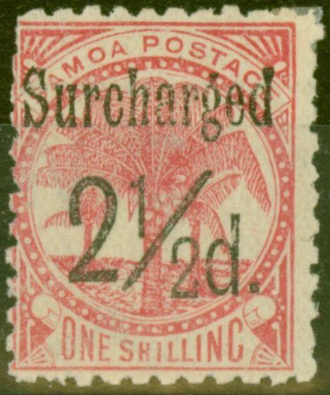 Rare Postage Stamp from Samoa 1898 2 1/2d on 1s Dull Rose-Carmine SG86 Fine Lightly Mtd MInt
