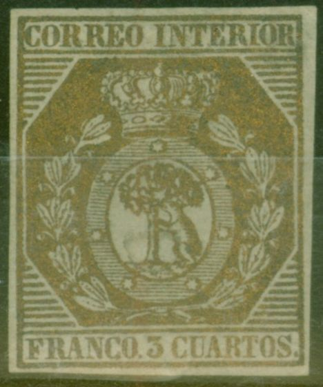 Old Postage Stamp from Spain 1853 3ch Bronze Edifil # 23 Very Fine & Very Fresh Unused  CV 19,000 Euros