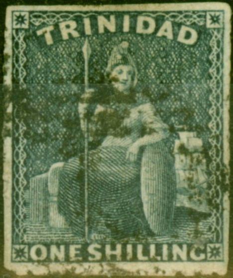 Valuable Postage Stamp from Trinidad 1859 1s Purple-Slate SG37 Pin-Perf 12.5 Fine Used Scarce Classic