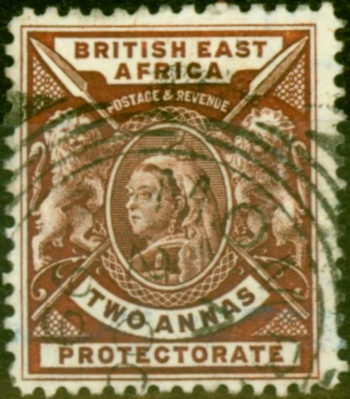 Old Postage Stamp from B.E.A KUT 1896 2a Chocolate SG67Var Wmk Doubled Lined Letter Fine Used
