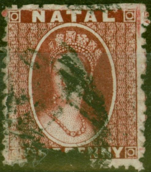 Collectible Postage Stamp from Natal 1863 1d Carmine-Lake SG19 Thick Paper P.13 Good Used