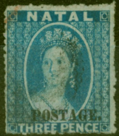 Collectible Postage Stamp from Natal 1869 3d Blue SG53 Type e  Fine Used