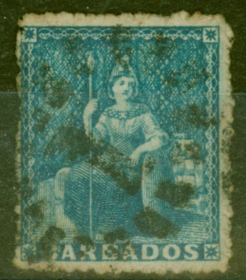 Valuable Postage Stamp from Barbados 1870 (1d) Blue SG44 Large Star Fine Used