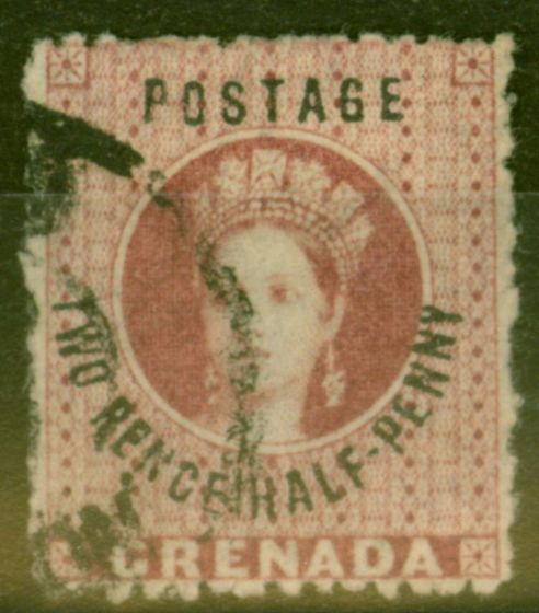 Valuable Postage Stamp from Grenada 1881 2 1/2d Rose-Lake SG22c No Stop Fine Used