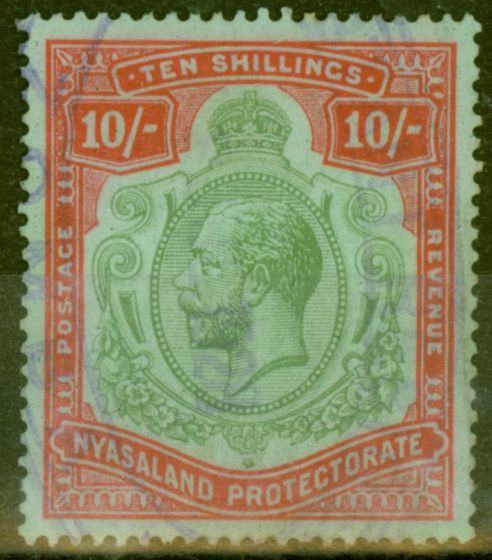 Valuable Postage Stamp from Nyasaland 1927 10s Green & Scarlet-Emerald SG113h Fine Used Fiscal Cancel