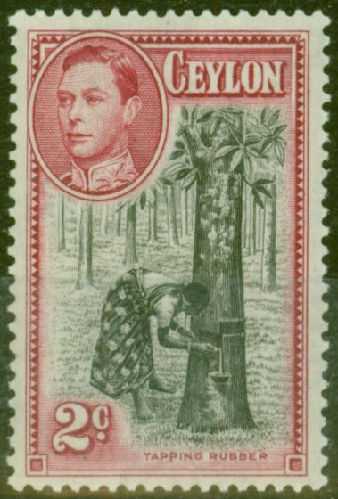 Old Postage Stamp from Ceylon 1938 2c Black & Carmine SG386a P.13.5 x 13 Fine LIghtly Mtd Mint