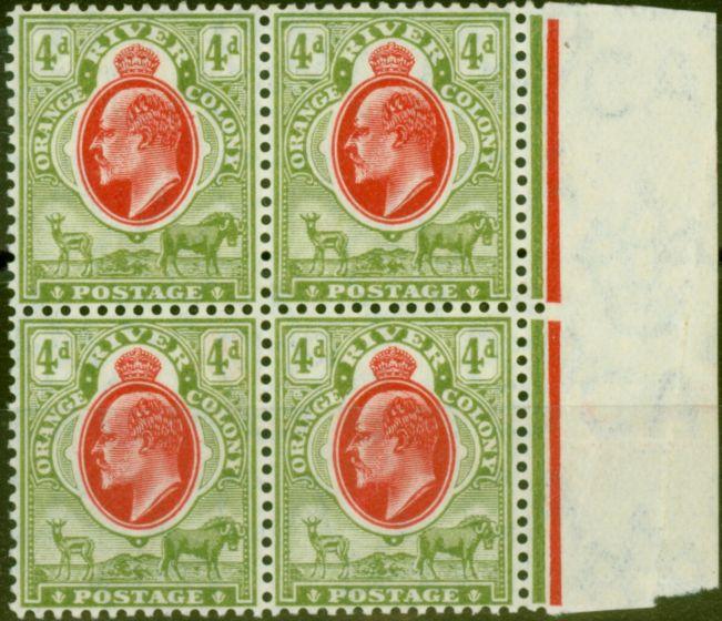 Rare Postage Stamp from Orange River Colony 1903 4d Scarlet & Sage-Green SG144 Fine MNH Marginal Block of 4