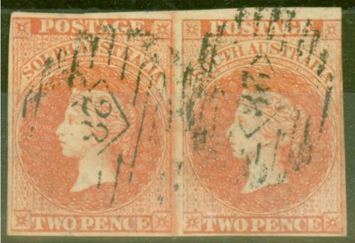 Collectible Postage Stamp from South Australia 1859 2d Orange-Red SG7 Fine Used Pair