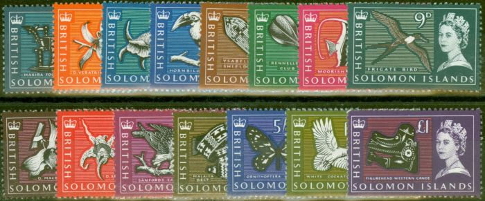 Old Postage Stamp from Solomon Islands 1965 set of 15 SG112-126 V.F Very Lighty Mtd Mint