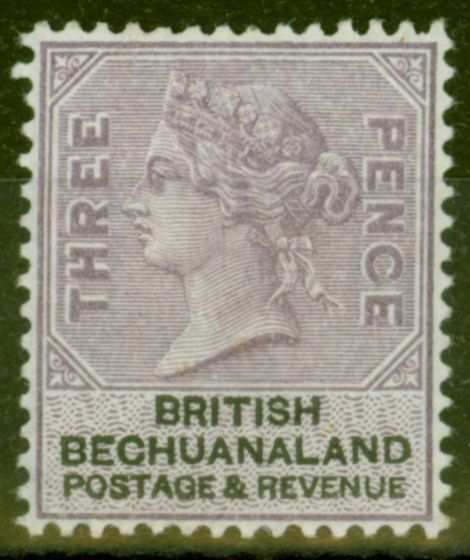 Old Postage Stamp from Bechuanaland 1888 3d Pale Reddish Lilac & Black SG12a Fine Lightly Mtd Mint