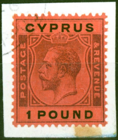 Rare Postage Stamp from Cyprus 1924 £1 Purple & Black-Red SG102 Superb Neatly Used on Small Piece
