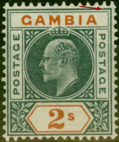 Old Postage Stamp from Gambia 1902 2s Deep Slate & Orange SG54var 'Slotted Frame' Fine Mtd Mint