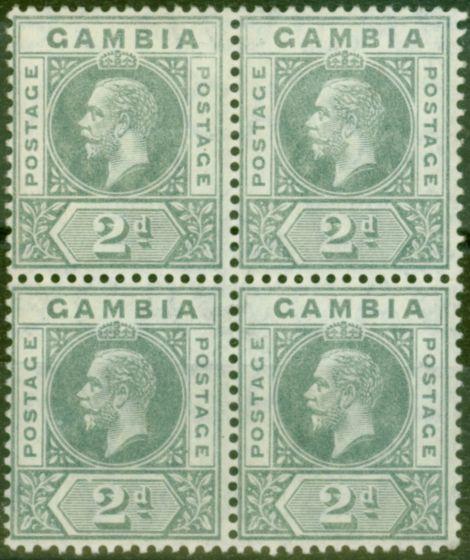 Old Postage Stamp from Gambia 1912 2d Greyish Slate SG89var Break in Value Tablet in a V.F VLMM Block of 4