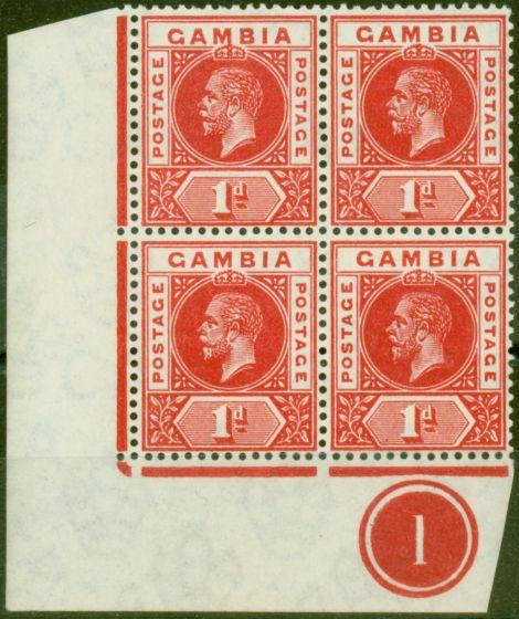 Old Postage Stamp from Gambia 1916 1d Scarlet SG87bvar Red Dot in Value Tablet in a V.F MNH PL1 Corner Block of 4