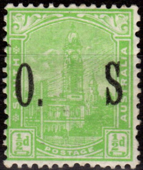Collectible Postage Stamp from South Australia 1900 1/2d Yellow-Green SG080b No Stop after S Fine & Fresh Mtd