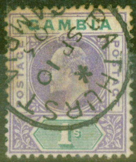 Collectible Postage Stamp from Gambia 1902 1s Violet & Green SG52 Ave Used CDS