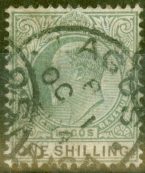 Old Postage Stamp from Lagos 1904 1s Green & Black SG50 Good Used
