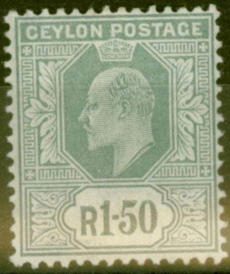 Valuable Postage Stamp from Ceylon 1905 1R 50c Grey SG287 Fine Lightly Mtd Mint