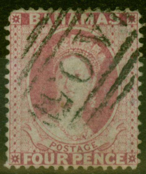 Old Postage Stamp from Bahamas 1876 4d Dull Rose SG36 P.14 Fine Used