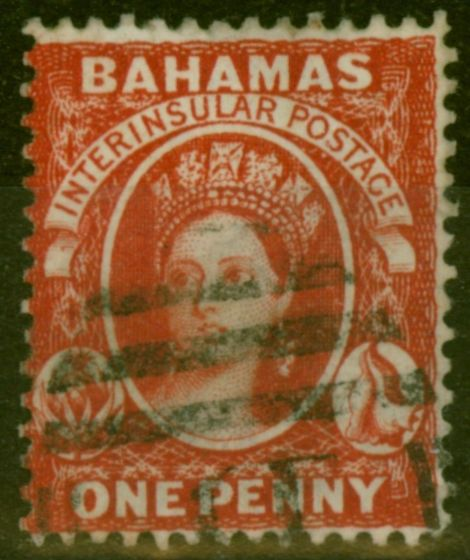 Rare Postage Stamp from Bahamas 1882 1d Scarlet-Vermilion SG42 Fine Used