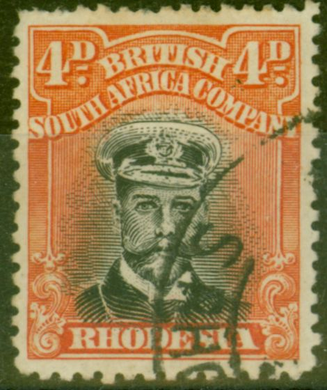 Collectible Postage Stamp from Rhodesia 1919 4d Black & Orange-Red SG261 Die III Fine Used