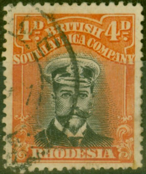 Valuable Postage Stamp from Rhodesia 1919 4d Black & Orange-Red SG261 Fine Used