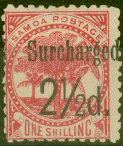 Old Postage Stamp from Samoa 1898 2 1/2d on 1s Dull Rose-Carmine SG86 Fine Mtd Mint (24)