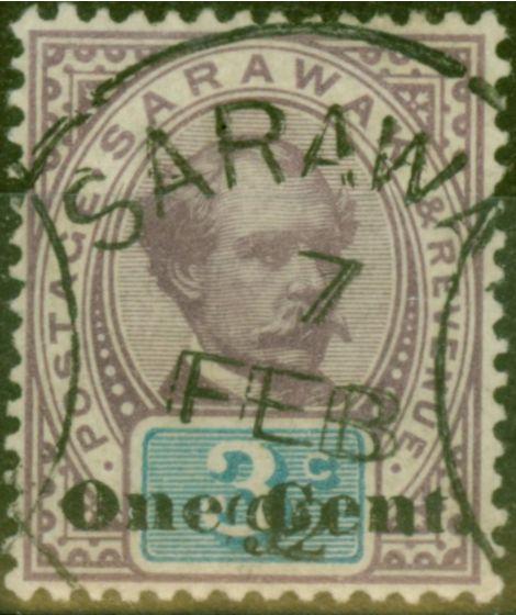 Valuable Postage Stamp from Sarawak 1892 1c on 3c Purple & Blue SG22 V.F.U