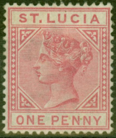 Collectible Postage Stamp from St Lucia 1883 1d Carmine-Rose SG32 Fine Mtd Mint