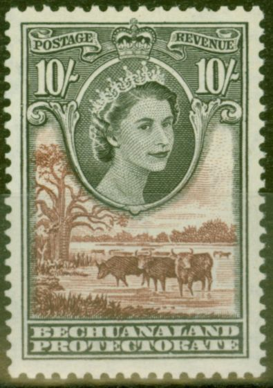 Rare Postage Stamp from Bechuanaland 1955 10s Black & Red-Brown SG153 V.F MNH