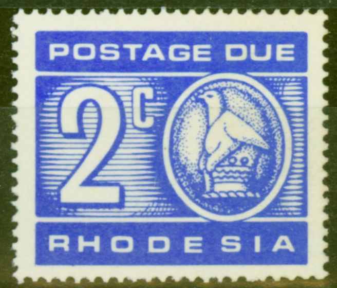 Rare Postage Stamp from Rhodesia 1970 2c Ultramarine Postage Due SGD19a Var Printed on Gummed Side V.F MNH