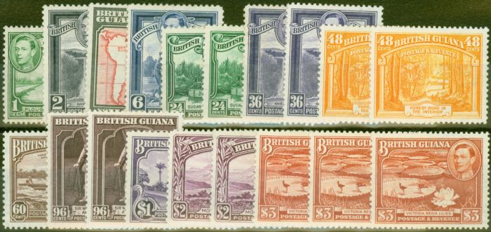 Rare Postage Stamp from British Guiana 1938-52 Extended set of 19 SG308-319b V.F Very Lightly Mtd Mint