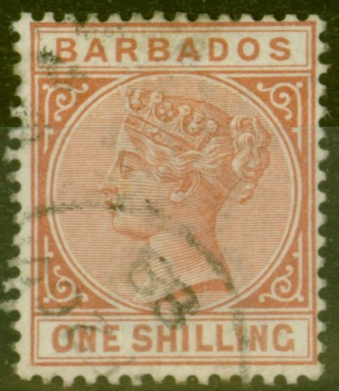 Collectible Postage Stamp from Barbados 1886 1s Chestnut SG102 Fine Used