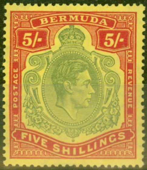 Valuable Postage Stamp from Bermuda 1938 5s Green & Red-Yellow SG118 V.F Very Lightly Mtd Mint