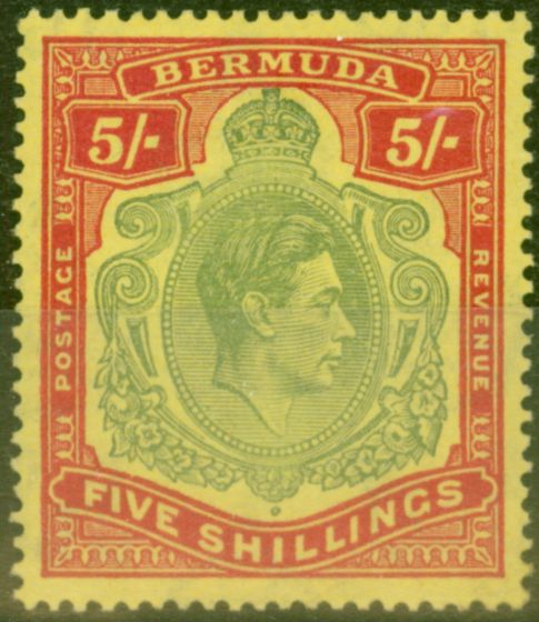 Rare Postage Stamp from Bermuda 1939 5s Pale Green & Red-Yellow SG118a Fine MNH