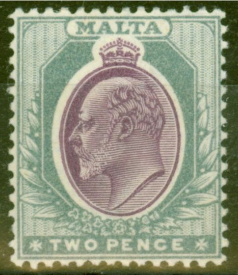 Collectible Postage Stamp from Malta 1905 2d Purple & Grey SG50 Fine Mtd Mint
