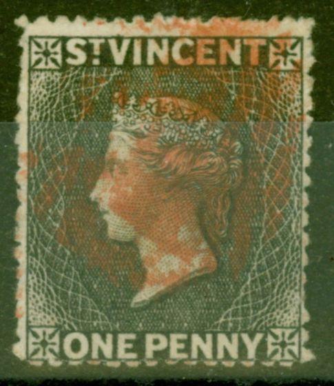 Old Postage Stamp from St Vincent 1871 1d Black SG15 Fine Used