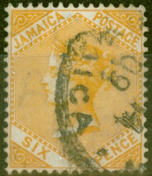 Old Postage Stamp from Jamaica 1906 6d Dull Orange SG51 Fine Used