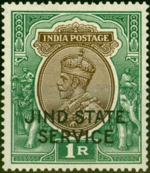 Jind 1928 1R Chocolate & Green SG058 Fine & Fresh Mtd Mint