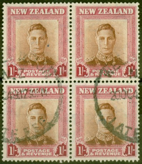 Rare Postage Stamp from New Zealand 1947 1s Red-Brown SG686aw Wmk Sideways Inverted Fine Used Block of 4