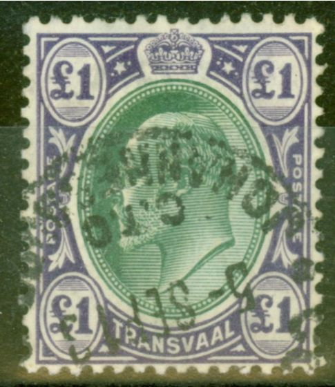 Old Postage Stamp from Transvaal 1908 £1 Green & Violet SG272 Fine Used C.T.O