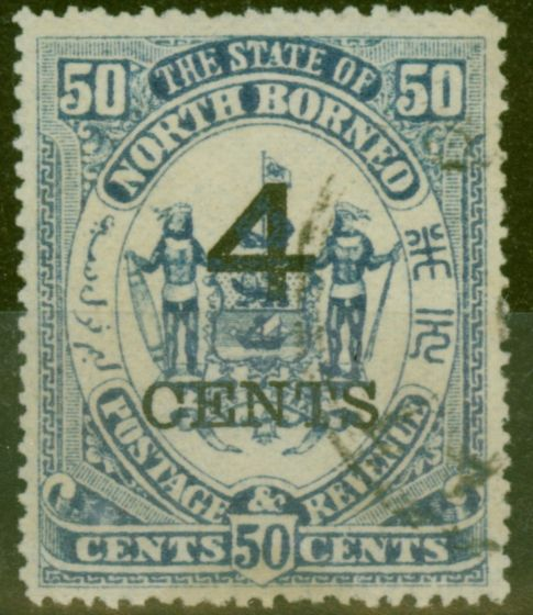 Valuable Postage Stamp from North Borneo 1899 4c on 50c Chalky Blue SG119a V.F.U