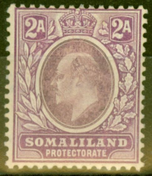 Valuable Postage Stamp from Somaliland 1909 2a Dull & Brt Purple SG47a Chalk Paper Fine Mtd Mint