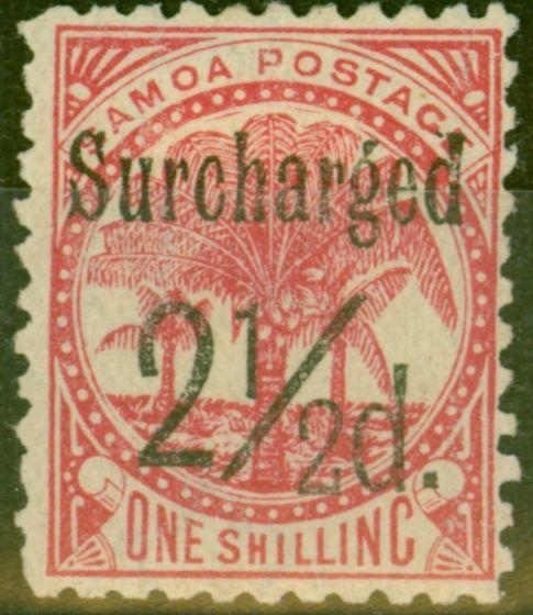 Rare Postage Stamp from Samoa 1898 2 1/2d on 1s Dull Rose-Carmine SG86 Fine Mtd Mint (6)