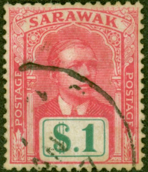 Old Postage Stamp from Sarawak 1918 $1 Brt Rose & Green SG61 Fine Used