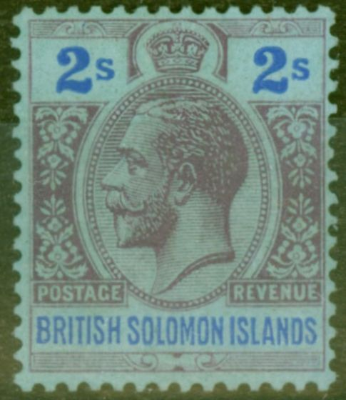 Collectible Postage Stamp from Solomon Islands 1927 2s Purple & Blue-Blue SG49 Fine Very Lightly Mtd Mint