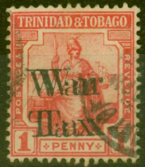 Valuable Postage Stamp from Trinidad & Tobago 1918 War Tax 1d Scarlet SG189a Opt Double Good Used