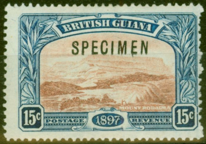 Valuable Postage Stamp from British Guiana 1898 15c Red-Brown & Blue Specimen SG221s Fine Lightly Mtd Mint